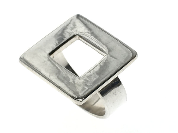 Square Open Frame .925 Sterling Silver Ring - Essentially Silver Jewelry