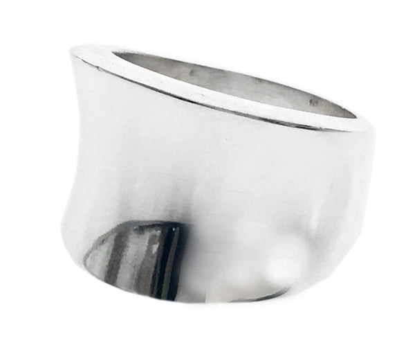 Curve Reverse Sterling Silver Band - Essentially Silver Jewelry