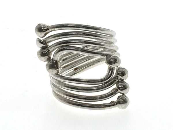 Four Wire Ball Wrap Sterling Silver Ring