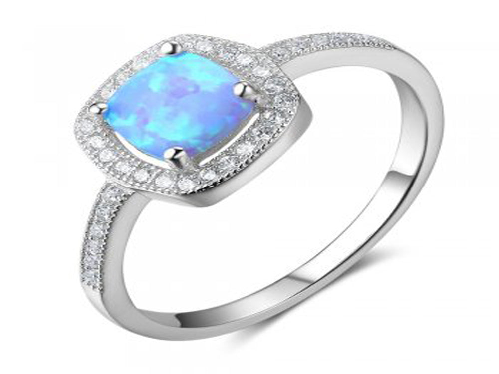 Simulated Blue Opal Sterling Silver Ring - Essentially Silver Jewelry