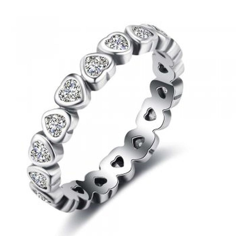 Cubic Zirconia Sterling Silver Heart Band - Essentially Silver Jewelry