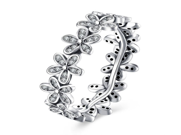 Cubic Zirconia Sterling Silver Flower Ring - Essentially Silver Jewelry