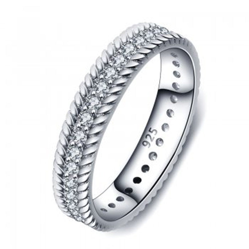Cubic Zirconia Sterling Silver 925 Band - Essentially Silver Jewelry