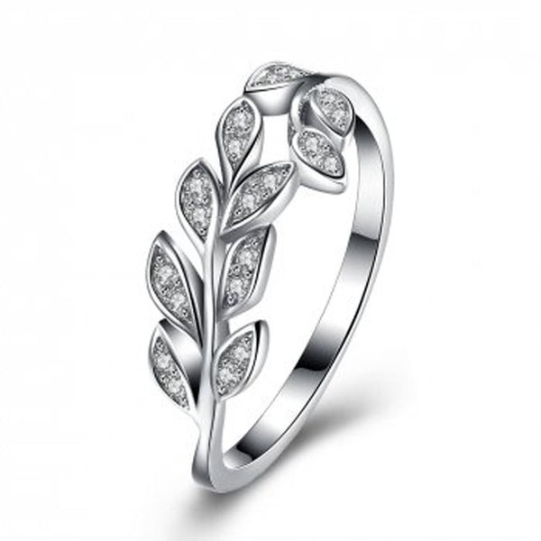 Cubic Zirconia 925 Sterling Silver Leaf Ring - Essentially Silver Jewelry