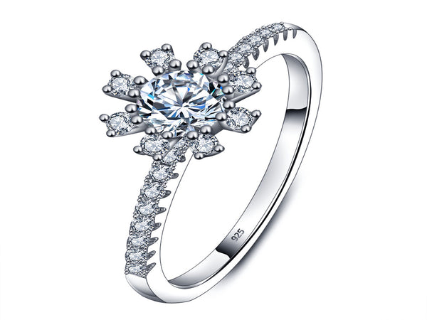 Cubic Zirconia Flower Sterling Silver Ring