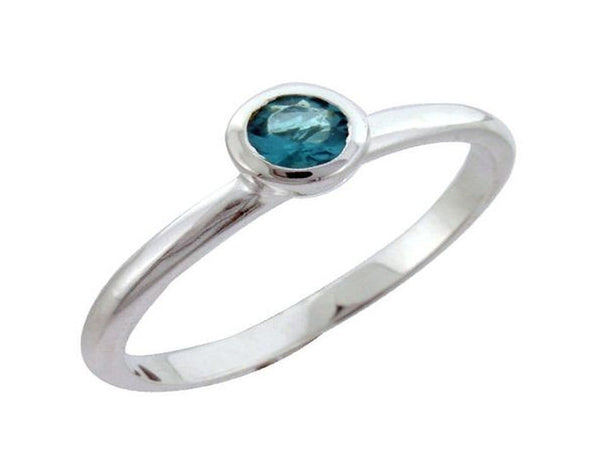 Blue cubic zirconia stackable .925 sterling silver ring - Essentially Silver Jewelry