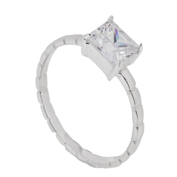 Cubic Zirconia Matt/Shiny Stackable .925 Sterling Silver Ring - Essentially Silver Jewelry