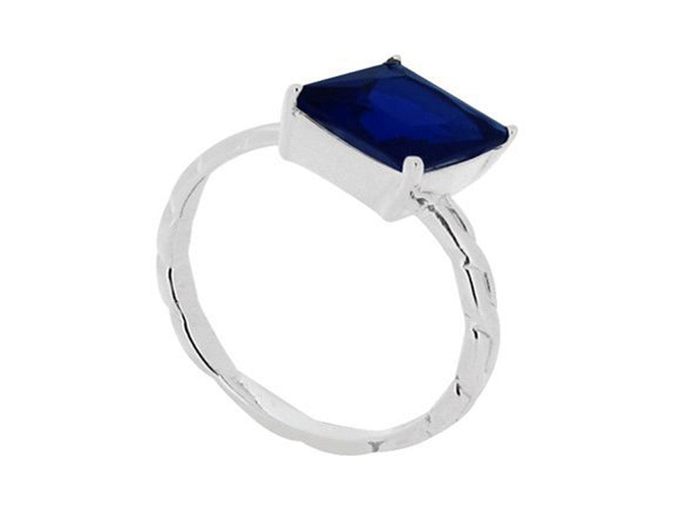 Blue Stone .925 Sterling Silver Stackable Ring - Essentially Silver Jewelry