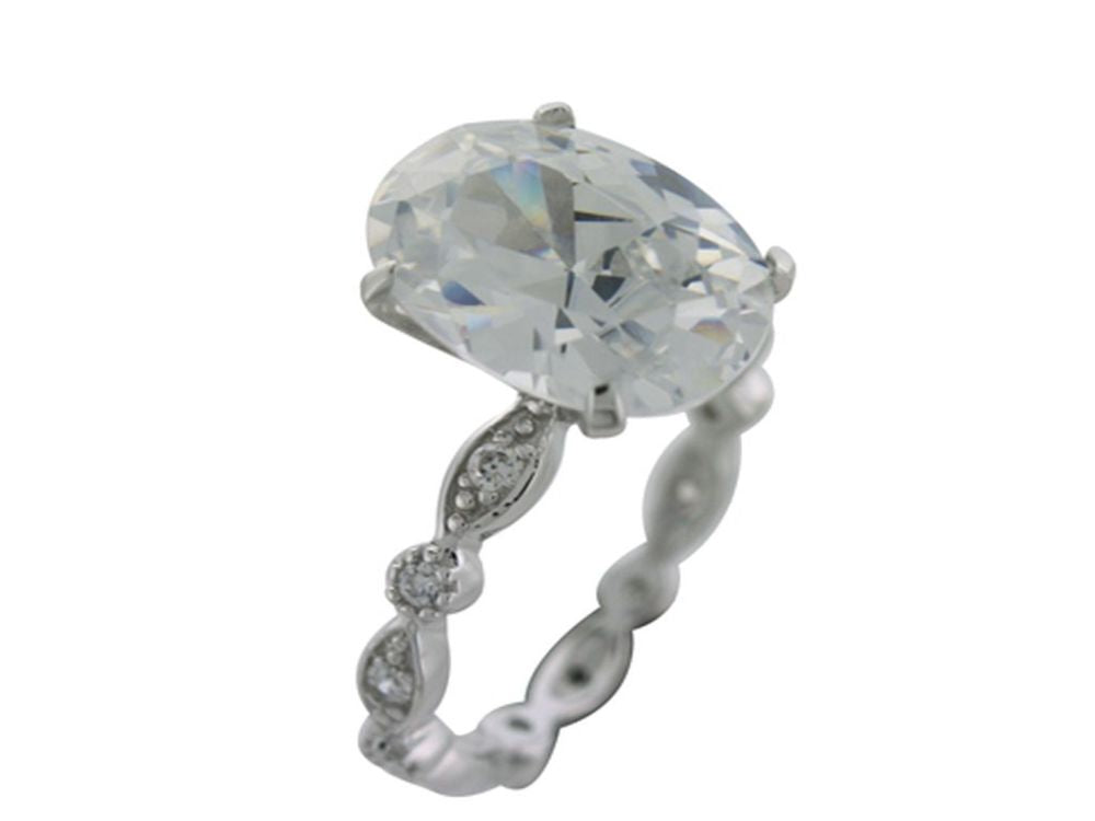 Cubic Zirconia Band & Stone Sterling Silver Ring - Essentially Silver Jewelry