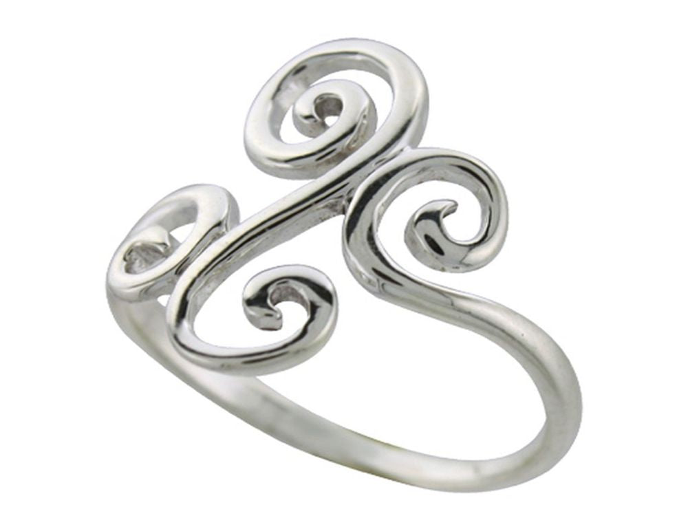 Double Swirl .925 Sterling Silver Ring - Essentially Silver Jewelry