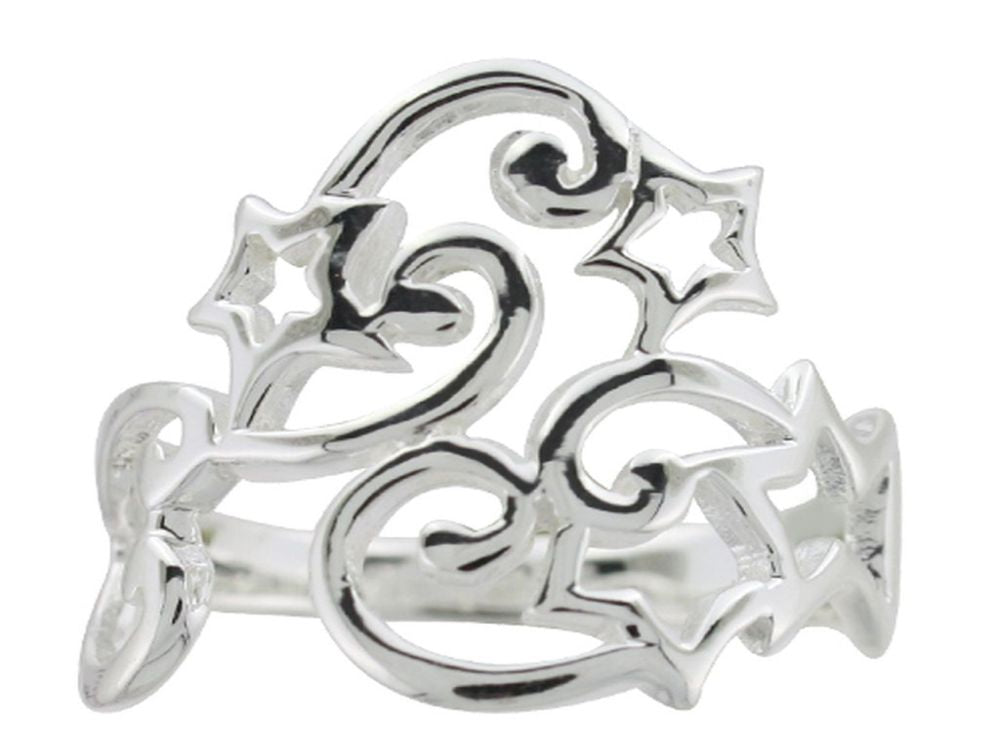 Stars & Swirl .925 Sterling Silver Ring - Essentially Silver Jewelry