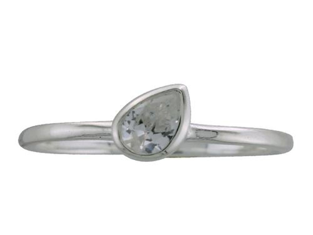Cubic Zirconia Petal .925 Sterling Silver Stackable Ring - Essentially Silver Jewelry