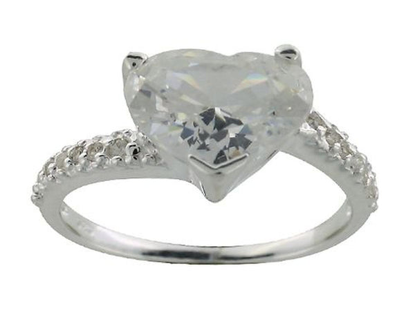 Heart Cubic Zirconia .925 Sterling Silver Ring - Essentially Silver Jewelry