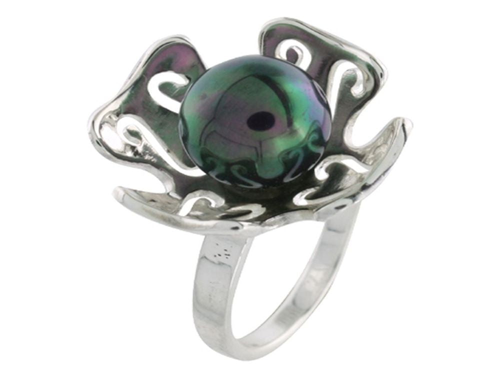 Black Pearl Flower Sterling Silver Ring - Essentially Silver Jewelry