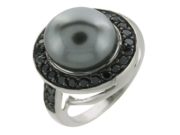 Pearl Black Cubic Zirconia Sterling Silver Ring - Essentially Silver Jewelry