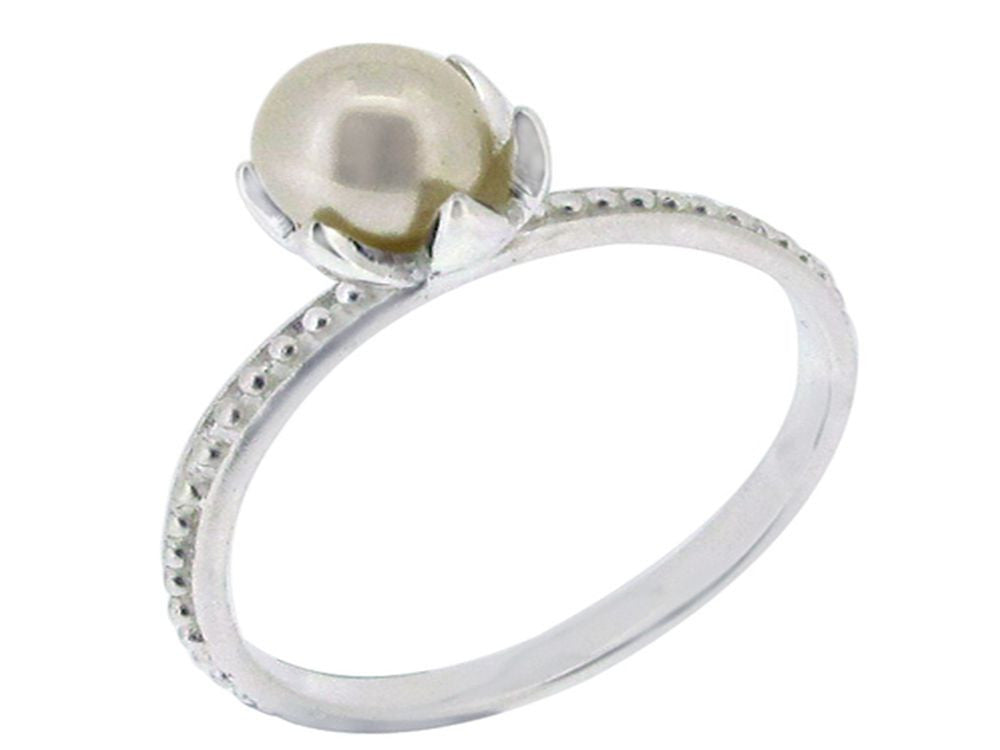 Pearl Stackable Sterling Silver Ring