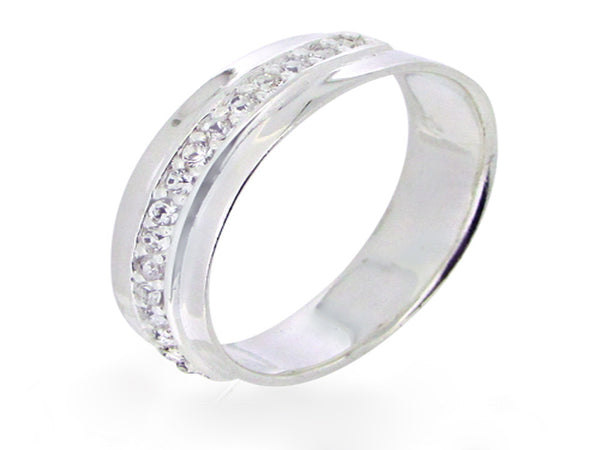 Crystal 5mm Sterling Silver Band - Essentially Silver Jewelry
