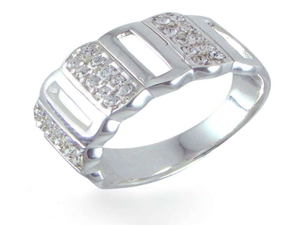 Cubic Zirconia Fence Sterling Silver Band - Essentially Silver Jewelry