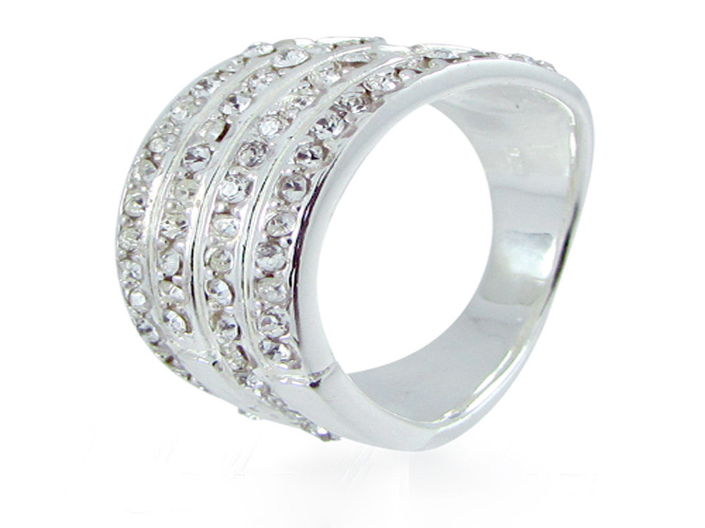 Crystal Studded Sterling Silver Ring - Essentially Silver Jewelry