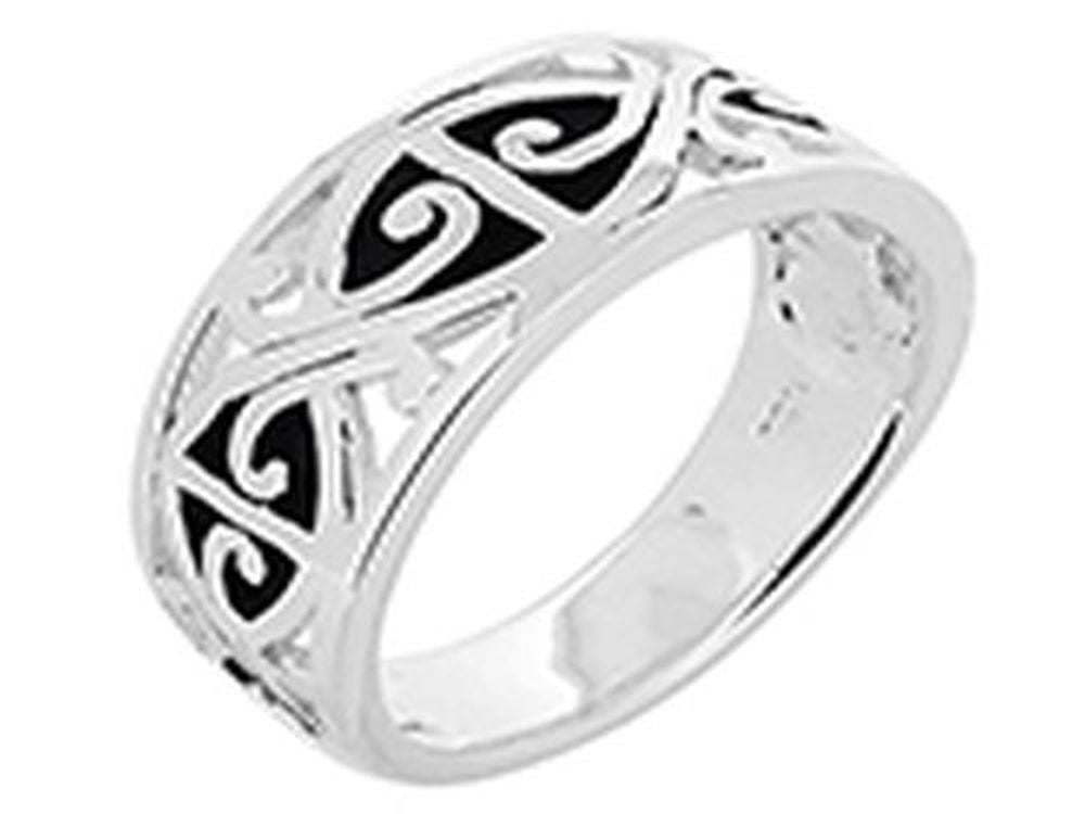 Oxidised Carved Tapered Sterling Band - Essentially Silver Jewelry