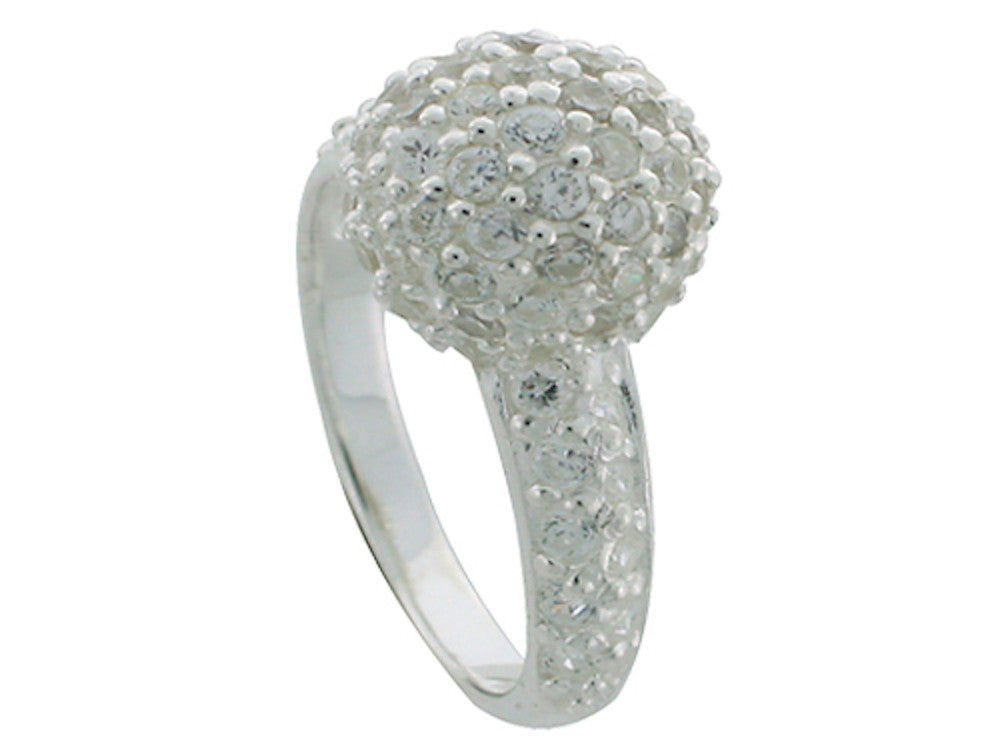 Cubic Zirconia Sterling Silver Ball Ring - Essentially Silver Jewelry