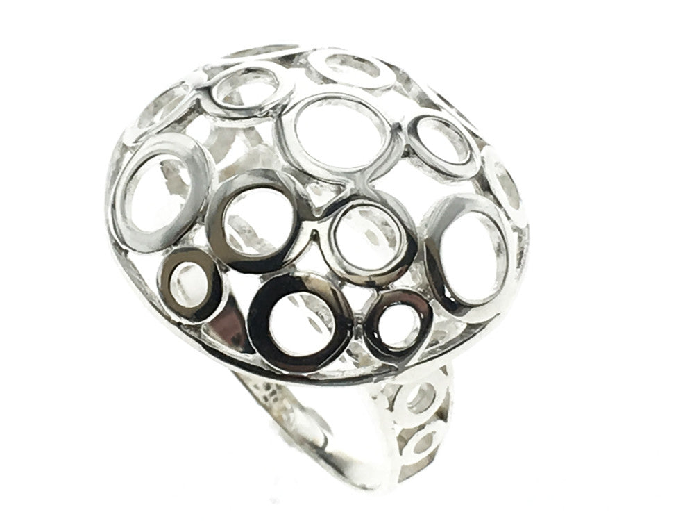 Circled Top Mushroom Sterling Silver Ring - Essentially Silver Jewelry