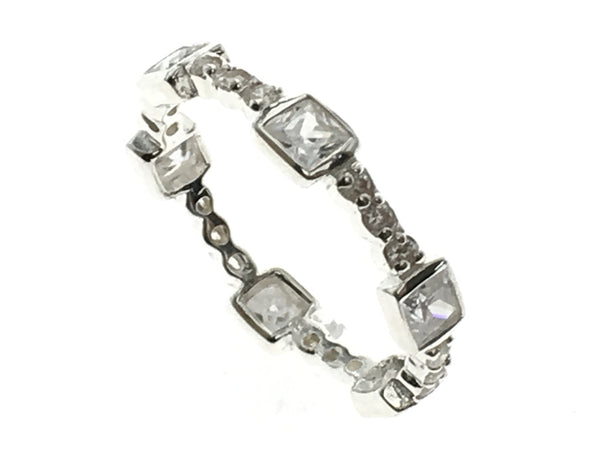 Cubic Zirconia Sterling Silver Box Band - Essentially Silver Jewelry