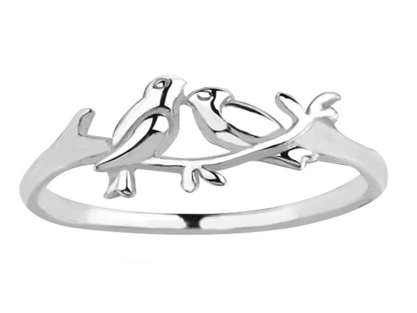 Dove Duo Midi Sterling Silver Ring - Essentially Silver Jewelry