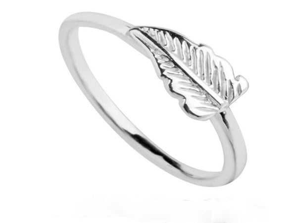 Midi Leaf .925 Sterling Silver Ring - Essentially Silver Jewelry