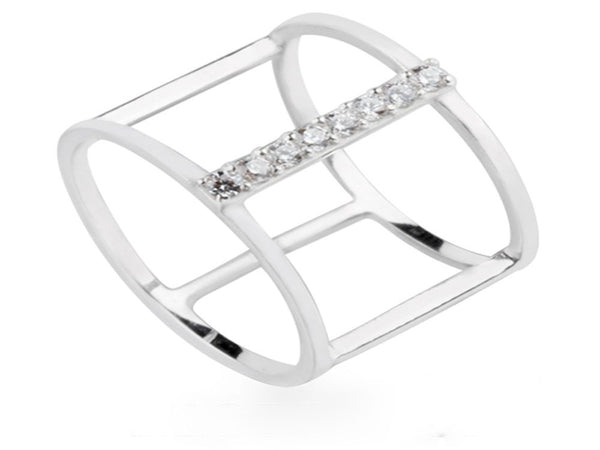 Midi Fence Cubic Zirconia Fence Bar .925 Sterling Silver Fingertip Ring - Essentially Silver Jewelry