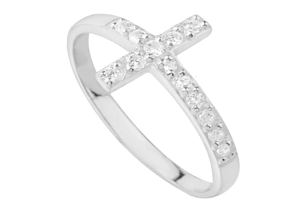 Cross Cubic Zirconia Sterling Silver Ring - Essentially Silver Jewelry