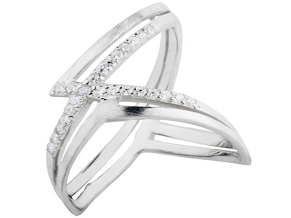 Cross Cubic Zirconia Midi Sterling Silver Ring - Essentially Silver Jewelry