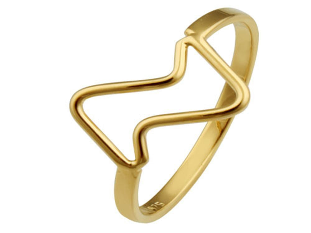 Gold Plated Jagged Sterling Silver Ring - Essentially Silver Jewelry
