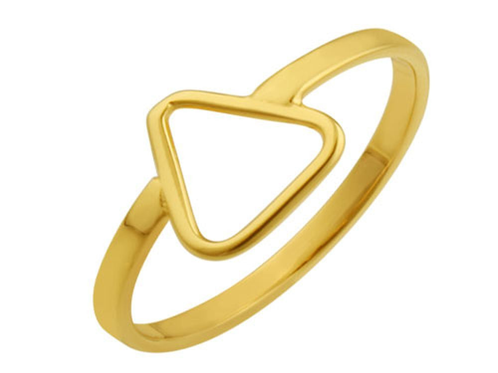 Gold Plated Triangle Sterling Silver Ring - Essentially Silver Jewelry