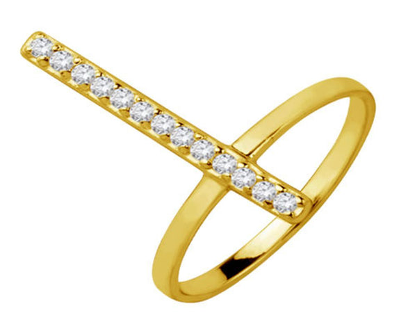 Gold Plated Cubic Zirconia Sterling Silver Ring - Essentially Silver Jewelry