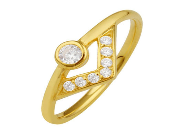 Gold Plated Cubic Zirconia Arrow Sterling Silver Ring - Essentially Silver Jewelry