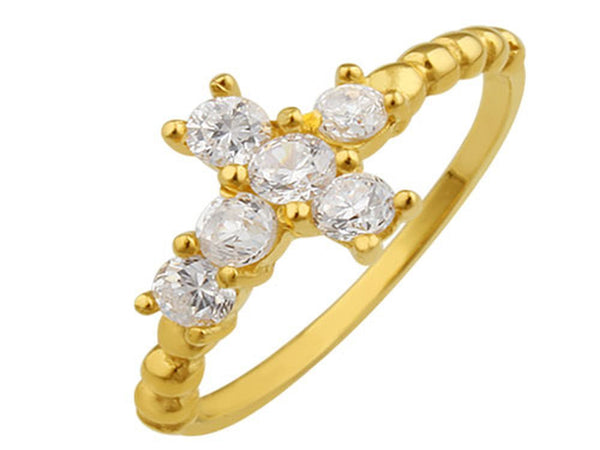 Gold Plated Cubic Zirconia Cross Sterling Silver Ring - Essentially Silver Jewelry