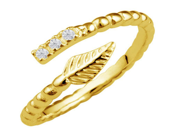 Gold Plated Cubic Zirconia Wrap Sterling Silver Ring - Essentially Silver Jewelry