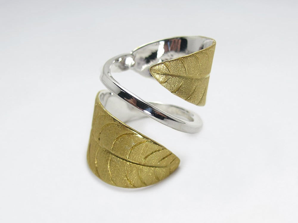 Handmade Matte Silver/Gold High Polish Leaf Wrap
