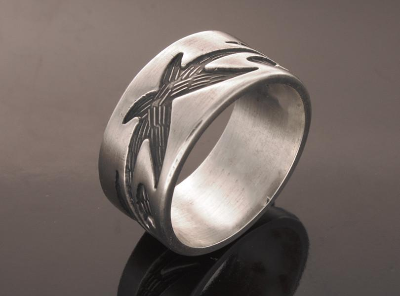 Oxidised Tattoo Sterling Silver Band
