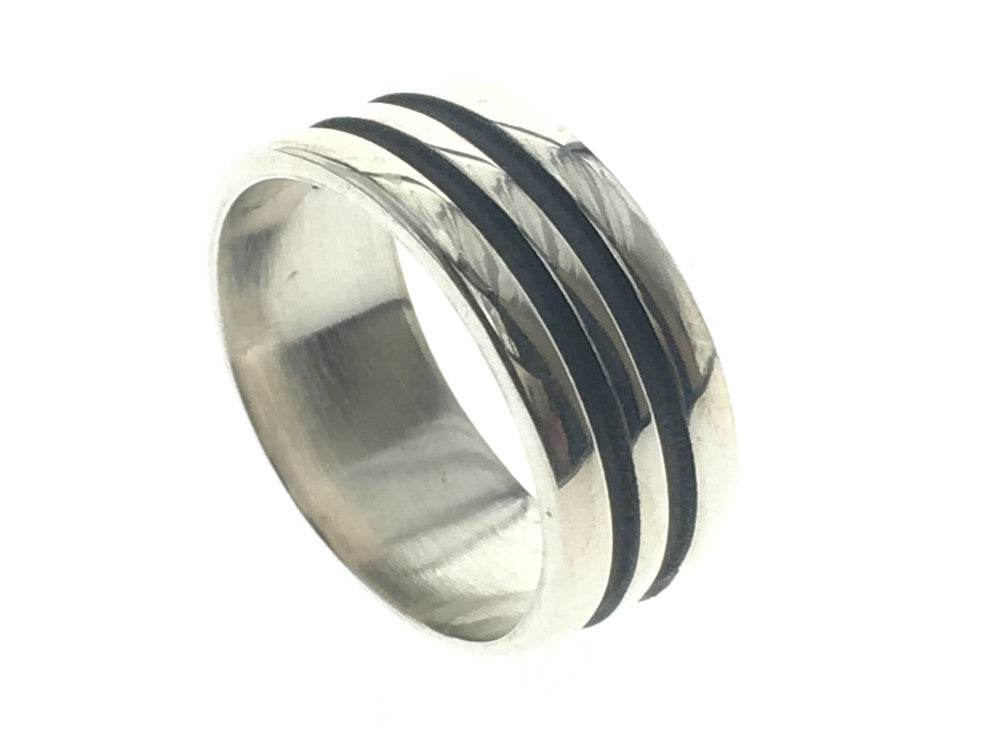Oxidised Double Lined Sterling Silver Band