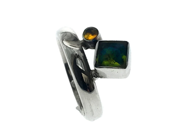Peridot & Citrine Sterling Silver Ring