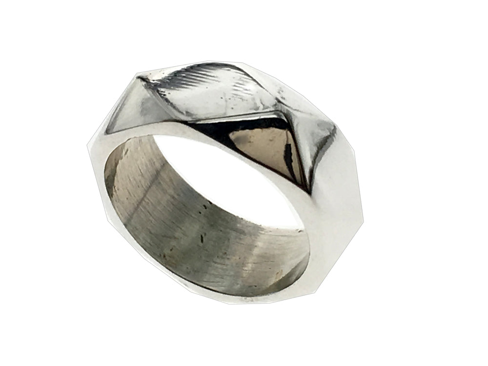 Diamond Dented Sterling Silver Band