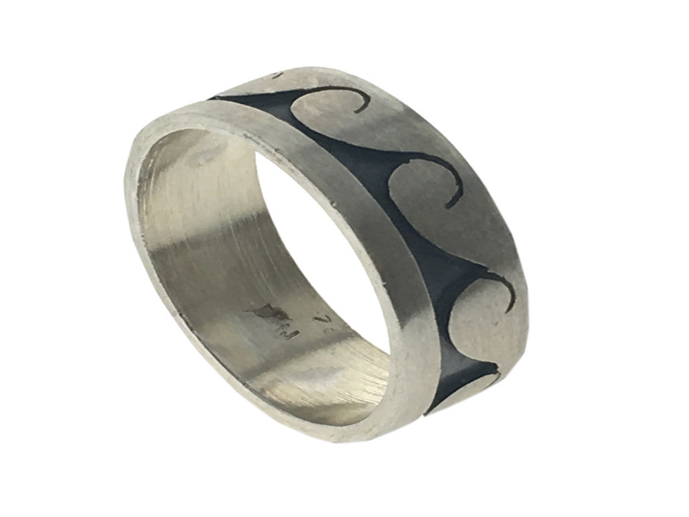 Oxidised Wave Matte Sterling Silver Ring - Essentially Silver Jewelry