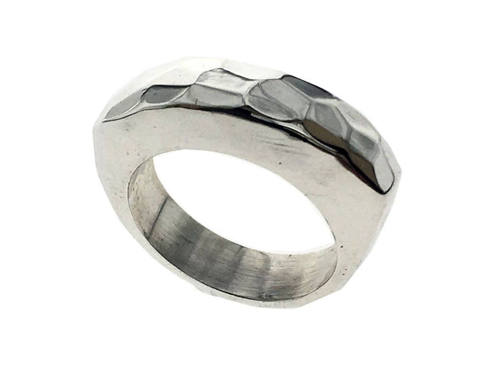 Hammered Bridge Sterling Silver Band
