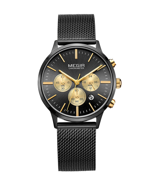 Megir Ladies Black Quartz Watch