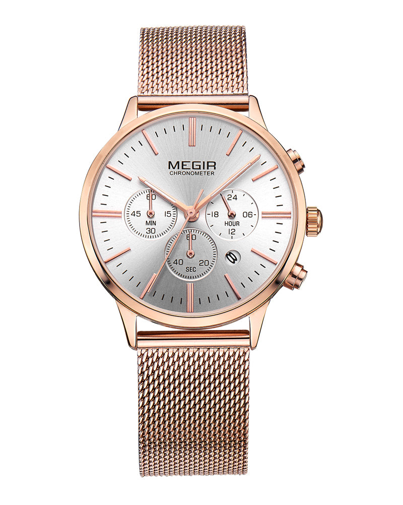 Megir Rose Gold Quartz Ladies Watch