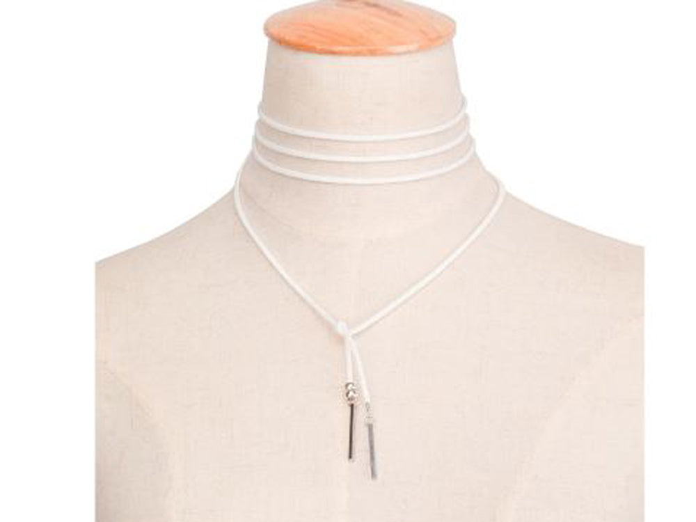 Long White faux Suede Leather Necklace