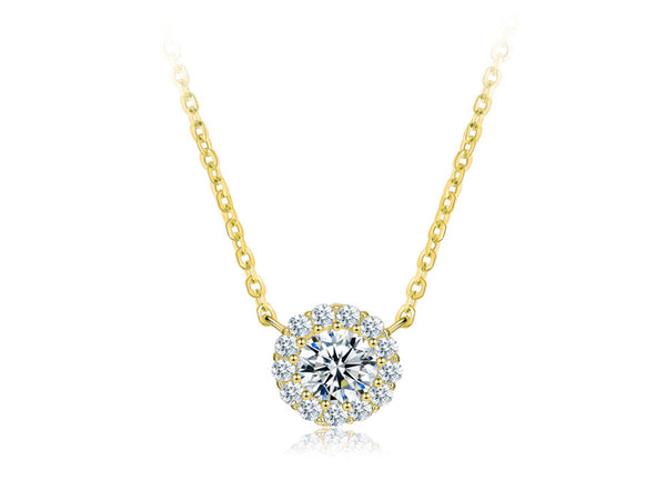 Gold Plated Sterling Silver Round Cubic Zirconia Necklace - Essentially Silver Jewelry