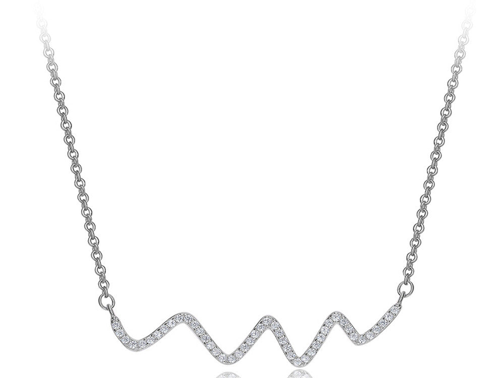 A Sterling Silver Squiggle Cubic Zirconia Necklace - Essentially Silver Jewelry